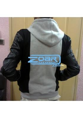 Leather & Fleece hoodie/sweatshirt
