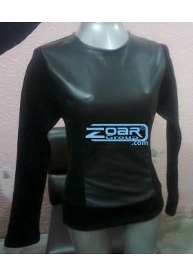 Leather & acrylic sweater